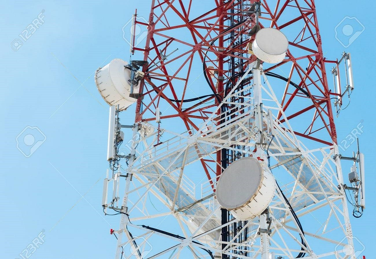 43970268 satellite dish telecom tower on blue sky background Telco